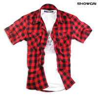 New style men's fashion clothing summer short-sleeve casual plaid cotton shirts free shipping LJ144