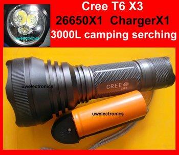 CREE XM-L XML 3xT6 LED 26650 hunter camping serching 3000Lm Flashlight Torch 6P