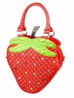 STOCK free shipping 2012 fashion summer bags PU leather Personality women/famale gift handbag creative cartoon bags-strawberry