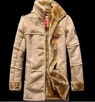 Brand  New  Men  beige gray brown  faux  SHEEPSKIN Suede Leather Fur zipprd  Coat warm  winter  Jacket  OEM
