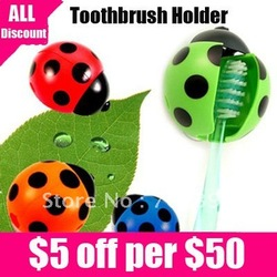 Free shipping Toothbrush Holder,Ladybug Toothbrush Holder, toothbrush container With suction cups 4pcs/lot(China (Mainland))