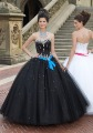 Innovative Design Ball Gown Crystal/Sashes Taffeta Black Dress Quinceanera(China (Mainland))