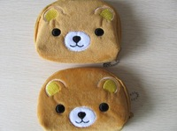 Half-Round Mini Rilakkuma Bear Plush Coin Purse & Wallet Pouch Bag Case ; Pendant Chain Purse Bag Case Pouch BAG Wallet Handbag