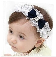 Free shipping!Wholesale Fashion Baby Headwear Kids Bow Headbands infant lace hairpins