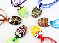 Wholesale Mix colors Fashion colourfulHandmade Murano Glass owl Pendant  Necklace Jewelry 12pcs/lot   Free Shipping