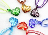 Wholesale Mix Fashion Lucency Lampwork  Murano Glass Floral Heart Pendant  Necklace Jewelry 12pcs/lot   Free Shipping