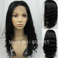 (free shipping + top quality )1# 16inch body wave Remy 100% indian human wigs full lace wig glueless Wig bw043