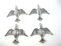Free shipping 20pcs/lot classic bird silver tone charms diy jewelry antique necklace pendant diy jewelry accessories 151200