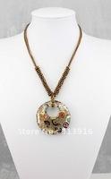 New 6pcs Wholesale mix color Fashion handmade gold dust Art round beads baroque Lampwork murano glass pendant necklce jewelry