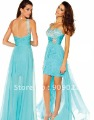 Cheap 2012 Sexy Light Blue One Shoulder Sweetheart Chiffon Beads Front Short Back Long Prom Dresses Homecoming Gown 08-130