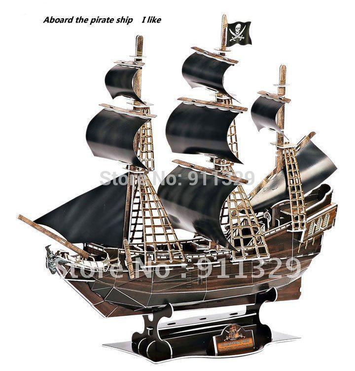 Best selling!! 3D model Ships assembled puzzle pirate ship Black Pearl ship building set educational blocks Free shipping 1 pcs(China (Mainland))