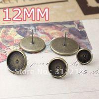 200pcs 12mm earring studs tray,earring hook finding,Copper stud earrings accessories,earrings base setting,Free shipping