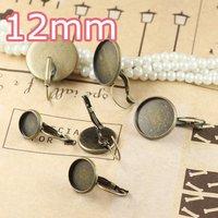 100pcs 12mm Antiqe Bronze Copper Earring Hook cameo,Brass stud earrings accessories,earrings base setting