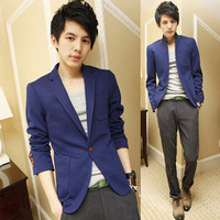 Free shipping+ 2012 quality fabric slim all-match stand collar male blazer suit