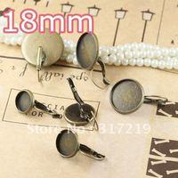 100pcs 18mm Antiqe Bronze Copper Earring Hook cameo,Brass stud earrings accessories,earrings base setting