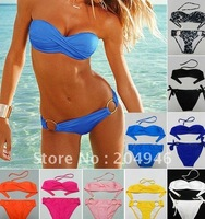 Женское бикини WITH PAD! yellow orange white black 2012 brand bikini swimwear Women VS design bikini swimsuit cup size Drop ship C5116