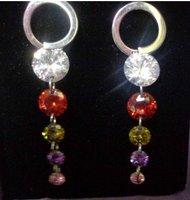 good news!multicolour gold GP round zircon crystal simulated diamond stud women's earrings 34324545