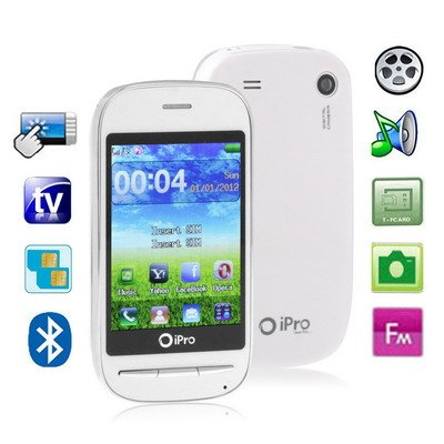 iPro Q70 White, Analog TV(PAL/NTSC/SECAM), Bluetooth FM function Touch Screen Mobile Phone, Dual Sim cards, Quad band