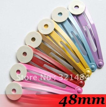 Free Ship!!!500pcs 48mm Drop Mix color Tone Metal Kids/Girls/Baby Hair Snap clips BB hair bobby pins Jewelry Findings