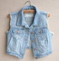 Free ship 2014 Hot CUTE Casual Raw Edges Design Blue Denim Vest Jean Jacket, Turn-down Collar Metal Button Women Jeans Outwear