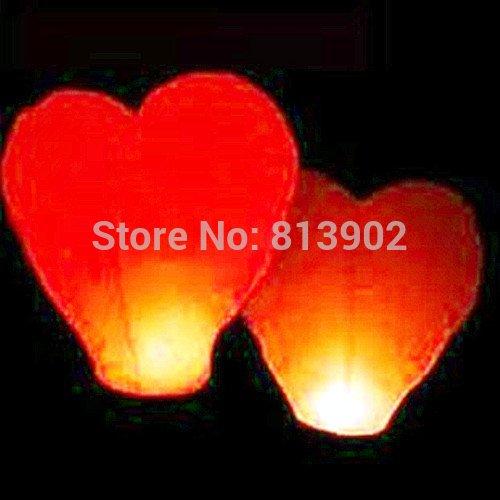 Free shipping 150pcs/lot Red Heart shape Chinese Sky lanterns Kongming Flying Wishing Lamp ,SL019(China (Mainland))
