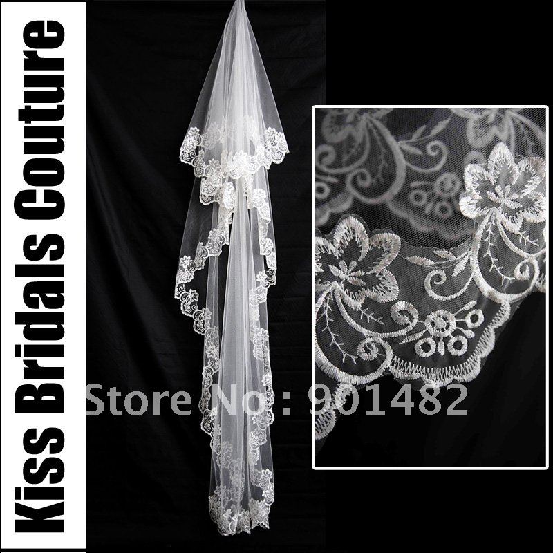 Free Shipping By China Post V018 Bridal Accessaries 2012 New 1.5M Long White/Ivory Face Lace Edge Trim Cheap Wedding Veil(China (Mainland))