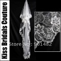 Free Shipping By China Post V018 Bridal Accessaries 2012 New  1.5M Long White/Ivory Face Lace Edge Trim Cheap Wedding Veil