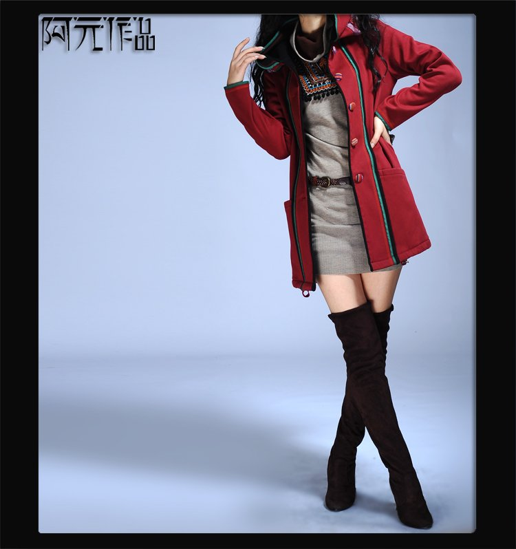DEMONSTYLE New arrival women's coat ,lady's red overcoat D50(China (Mainland))