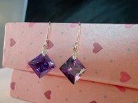 high quality!cheap! good !purple Fashion Platinum Plated zircon earring 98437509843543