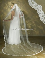 Hot Latest Fast delivery  appliques lace edge  beading   tulle bridal wedding  veils