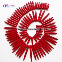YA0579 Red Turquoise Howlite Spike Beads Loose Beads 20-50mm 17inch