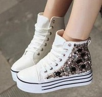 Unisex Striped Lace-UP Casual Sneakers Students High Heel Canvas Shoes (Size 35-39) 3650
