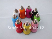 Free express shipping!500Pcs Mini Bullet Colorful Car Charger Adapter for Ipod for Iphone 4G 3GS 3G 2G Cell Phone Mp3 Mp4 Mp5