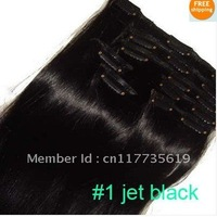 "#1 jet black clip in on full head remy real 100% human hair extensions Straight 7 pcs 100g 16"" 18"" 20""22"" 24""26"" 28"""
