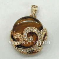 Free Shipping ~ New Coming Golden Tiger eye stone stone w/ CZ Rhinestone Jewelry Metal Pendants Beads for Necklace Wholesale