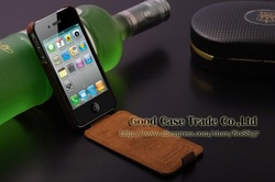 Top Quality Genuine Leather Case For iphone 4 4s Luxury Cover Ultra Thin Flip Case For iphone4g Cell Phone Shell Retail Package(China (Mainland))
