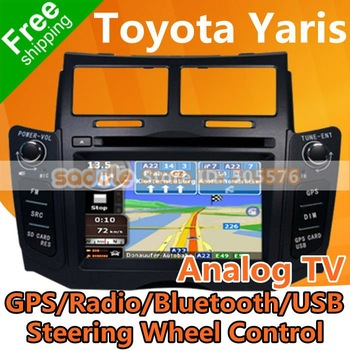 "Toyota Yaris Car DVD , 6.2"" In Dash Car DVD for Black Toyota Yaris with GPS Navigation Analog TV Radio RDS Bluetooth USB SD iPod"