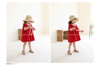 Sakura&#39;s Store CPAM FREE Lace Collar Children Long Sleeved Red Dress Girl Baby Dress