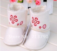 2012 Fashion Baby Princess Shoes Baby Girls Toddler Prewalker With Flower Free shipping