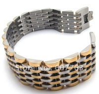 316L Stainless Steel 20mm Super Width Raolex Style Band Intermittent Gold Plated  Link Men's Bracelet