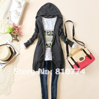 2014 autumn new arrival women's long-sleeve knitted outerwear medium-long hooded cardigan sweater
