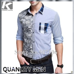 KUEGOU NEW NATIONAL STYLE MEN'S LONG SLEEVE SHIRT, VERY GOOD QUAITY AND CASUAL STYLISH SHIRTS,FREE SHIPPING BY CHINA POST(China (Mainland))