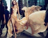 Free Shipping 2014 Anja Rubik Sweetheart Draped Off-shoulder Long Elie Saab Evening Dress