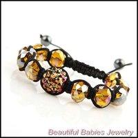 Shamballa Jewelry Handmade Bracelet Resin and Crystal Beads Black Rope