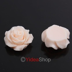 Promotion,Wholesale -120pcs Fashion Available Rose shape Cream-pink Flat base Resin Flower 111570(China (Mainland))