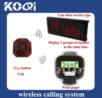 Pager Calling System,restaurant paging systems,wrist receiver < 15pcs buttons + 2 pcs watch receiver +1pcs LED receiver>