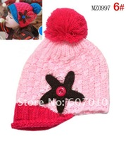 MZ0997_ New Arrival child hat 100% Cotton knitted winter wool baby hats fashion starfish design, 10pcs/lot