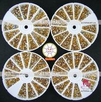 Free Shipping-60 Wheels 1.5mm Faceted Round Golden Acrylic Nail Art rhinestones A_Grade 144000pcs Nail Art Decoration Rhinestone
