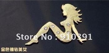 Free Shipping/EMS,DIY 3D car sticker,animal window sticker,metal lady sticker,Car Emblem Bedges,auto car accessory.