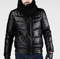 Brand New men winter downcoat high quality PU leather coat  outwear fashion parka jackets